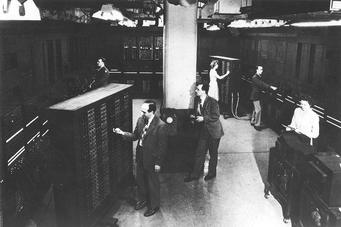 ENIAC, with men and women at work