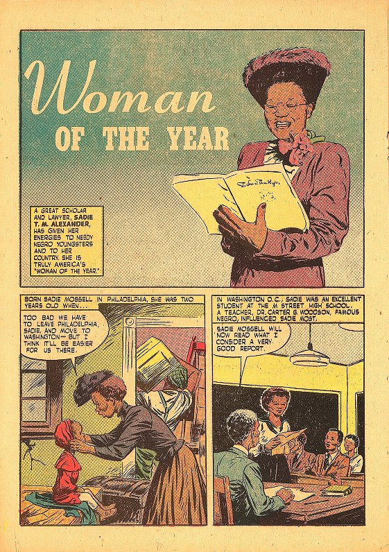 Sadie T.M. Alexander (1898-1989), B.S. 1918, A.M. 1919, Ph.D. 1921, LL.B. 1927, comic book biography, first page