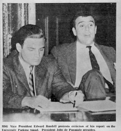 Edward G. Rendell (born 1944), B.A. 1965, at student government meeting, photograph with caption