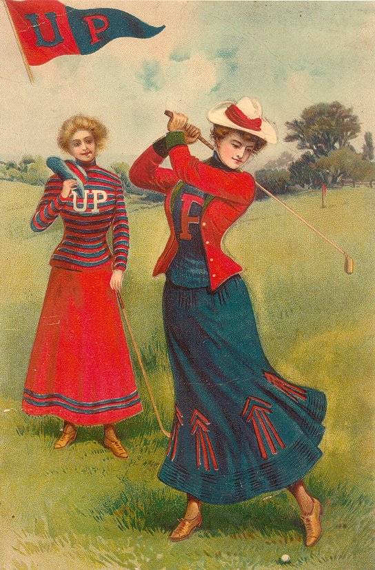 Two women golfers, one in foreground swinging a club wearing blue skirt with red arrows, blue sweater with red 'P' red jacket and white hat with red band
