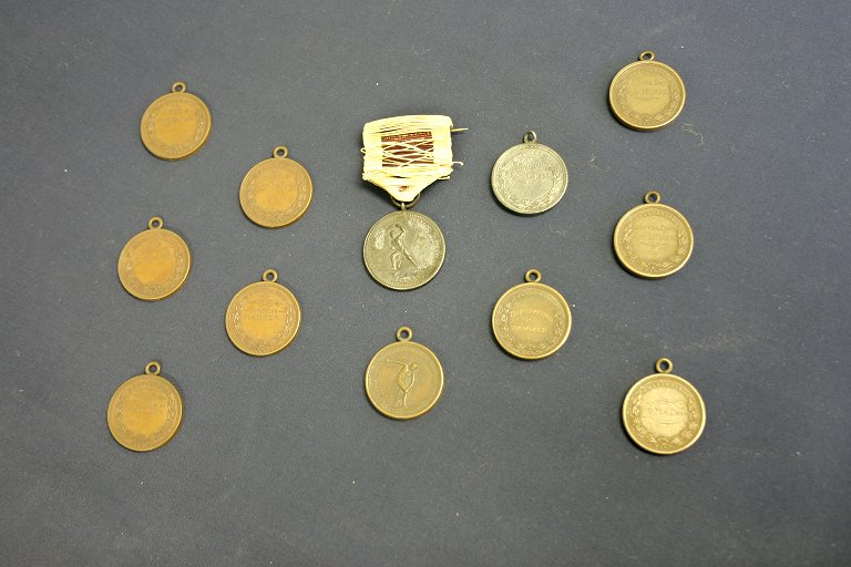 Athletic Association of the University of Pennsylvania, track and field, silver and bronze medals (twelve), for winners in track and field, 1885 and 1888
