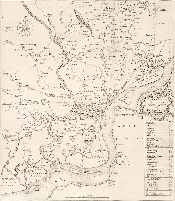 Philadelphia, map by Nicolas Scull and George Heap, first edition, 1753