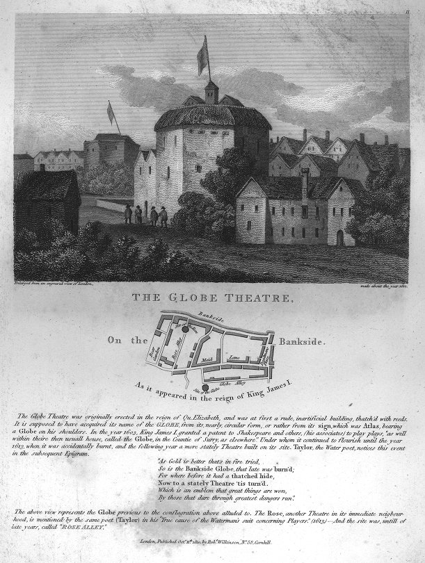 The Globe Theatre on the Bankside [view and map].