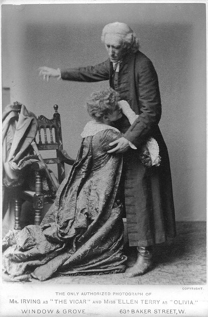 """The only authorized photograph of Mr. Irving as """"The Vicar"""" and Miss Ellen Terry as """"Olivia.""""."""