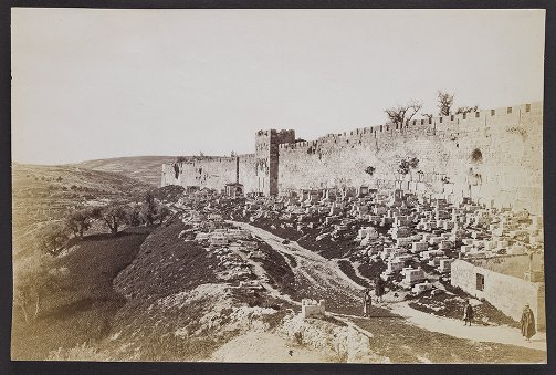View from St. Stephen's Gate, showing Eastern Wall of Jerusalem, Arab Tombs, and Golden Gate