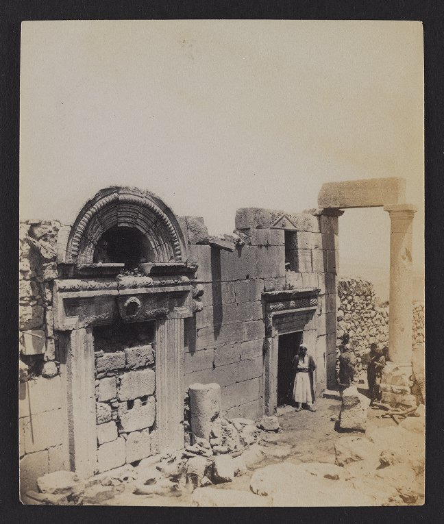 Kefr Birim--Ruins of a large and fine synagogue. The supposed burial-place of Queen Esther