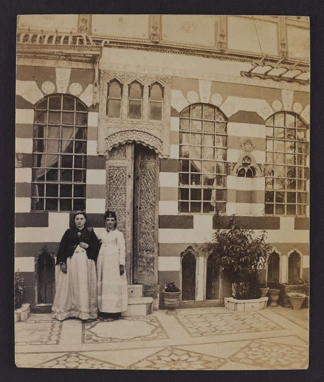 Damascus--Doorway and Niche. Jewish Female Figures in the Courtyard of a Jewish House