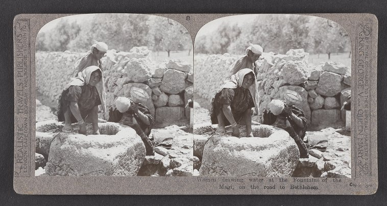 Women drawing water at the Fountain of the Magi, on the road to Bethlehem