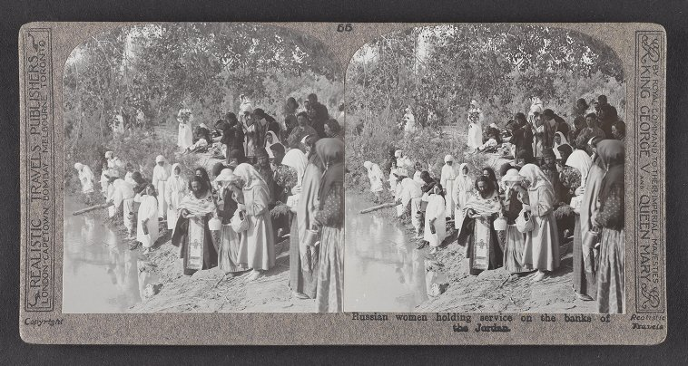 Russian women holding service on the banks of the Jordan