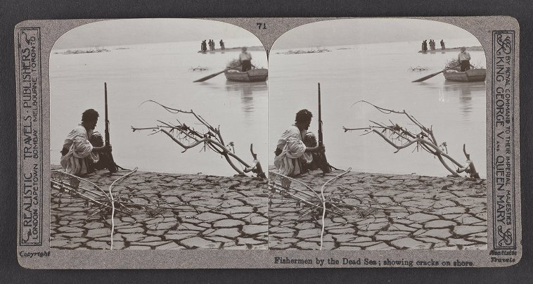 Fishermen by the Dead Sea; showing cracks on shore