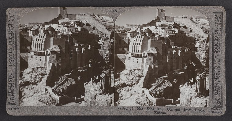 Valley of Mar Saba and Convent, from Brook Kedron
