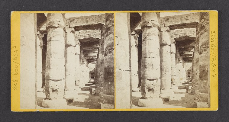 Egypt--Abydus. Colonnade in the Great Hall of the Great Temple of Abydus