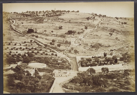 Gethsemane and Mount of Olives, view from the west