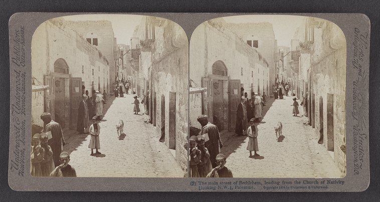 The main street of Bethlehem, leading from the Church of Nativity (looking N.W), Palestine