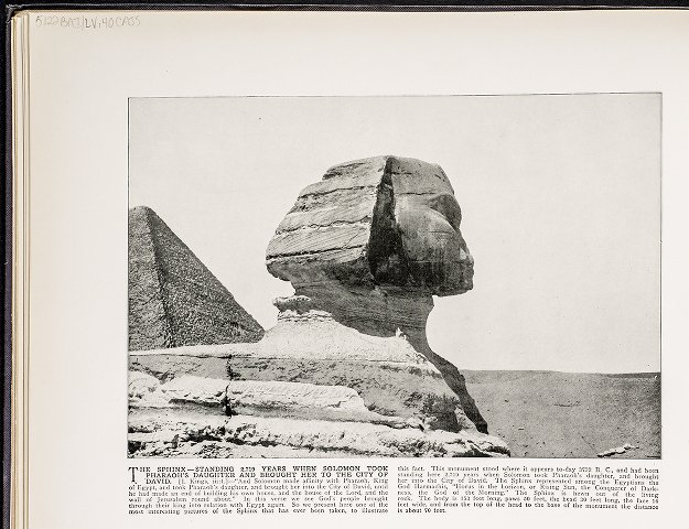 The Sphinx--Standing 2,719 years when Solomon took Pharaoh's daughter and brought her to the city of David