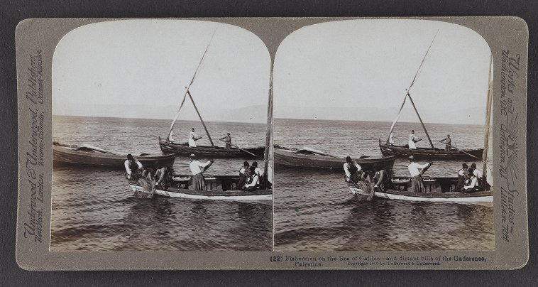 Fishermen on the Sea of Galilee--and distant hills of the Gaderenes, Palestine