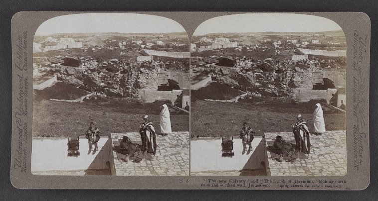 'The new Calvary' and 'The Tomb of Jeremiah,' looking north from the northern wall, Jerusalem