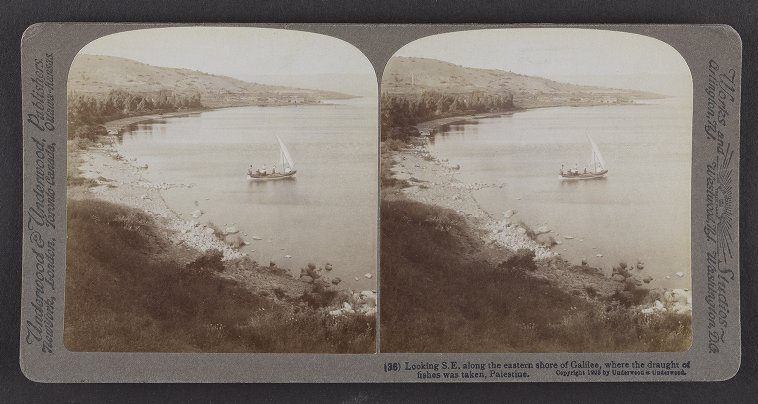 Looking S.E. along the eastern shore of Galilee, where the draught of fishes was taken, Palestine