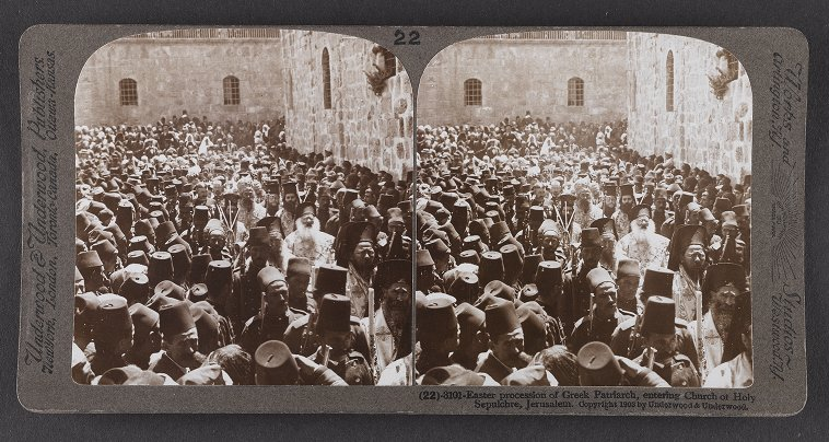 Easter Procession of Greek Patriarch, entering Church of Holy Sepulchre, Jerusalem