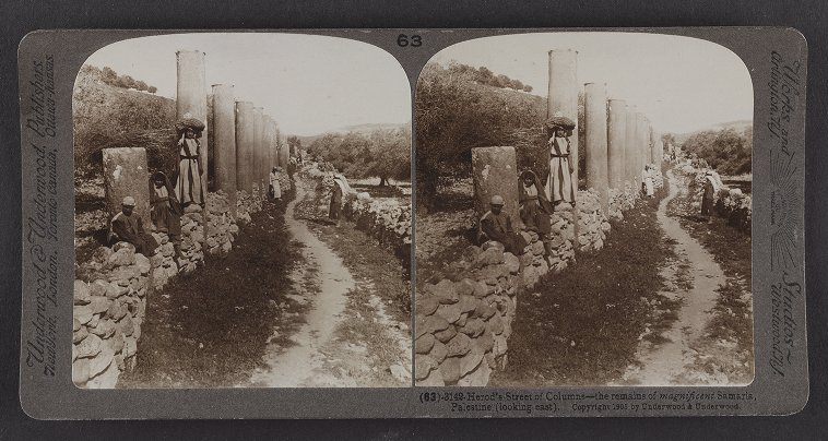 Herod's Street of Columns--the remains of magnificent Samaria, Palestine (looking east)
