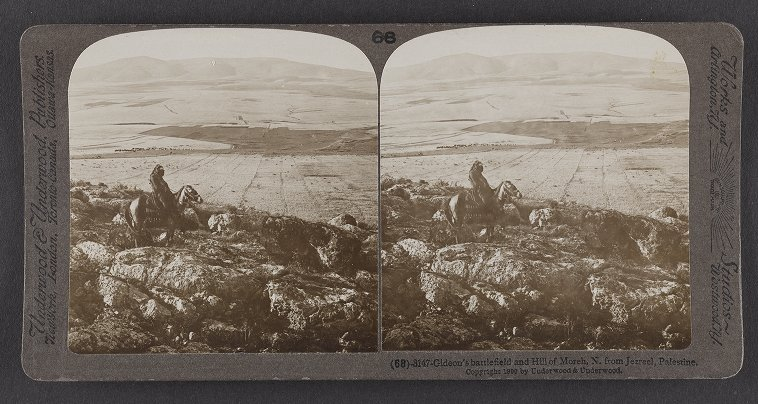 Gideon's battlefield and Hill of Moreh, N. from Jezreel, Palestine