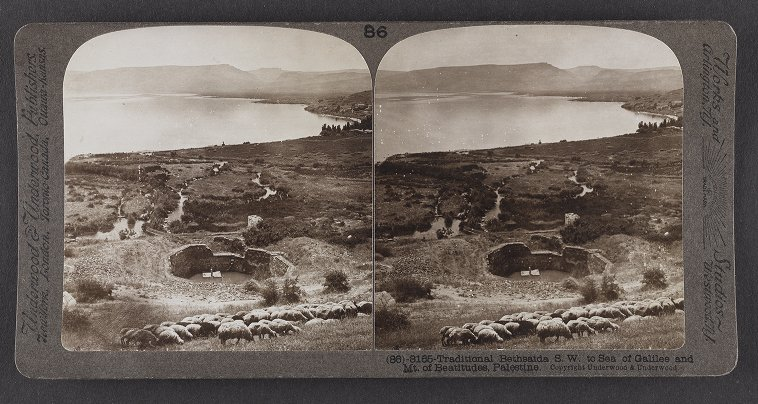 Traditional Bethsaida S.W. to Sea of Galilee and Mt. of Beatitudes, Palestine